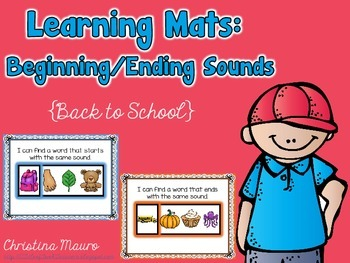 Beginning/Ending Sounds {Back to School} Learning Mats
