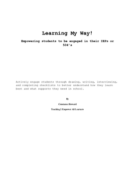 Learning My Way! Helping students self-advocate learning