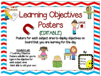 Learning Objectives Posters (EDITABLE) ~ Red, White & Blue