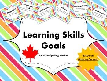 """Learning Skills """"I will"""" Charts {Rainbow Theme}  - Canadia"""