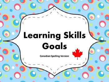 """Learning Skills """"I will"""" Charts {Silly Dots Theme} - Canad"""