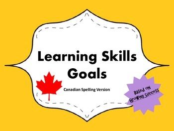 "Learning Skills ""I will"" Charts {Yellow} - Canadian/UK Spelling"