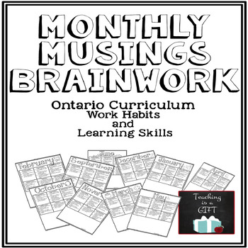 Learning Skills and Work Habits Student Monthly Self-Asses