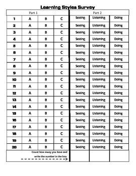 Learning Styles Survey Answer Key