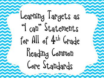 "Blue Chevron Learning Target  ""I can"" Statements for 4th G"