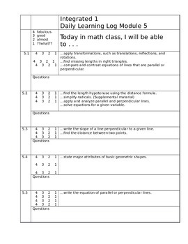 Learning Target Logs Mod 5 Mathematics Vision Project