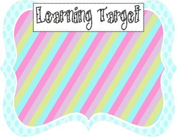 Learning Target Poster (blue dot rainbow stripes)