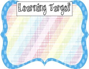 Learning Target Poster (blue dot rainbow burlap)