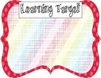 Learning Target Poster (red dot rainbow stripe burlap)