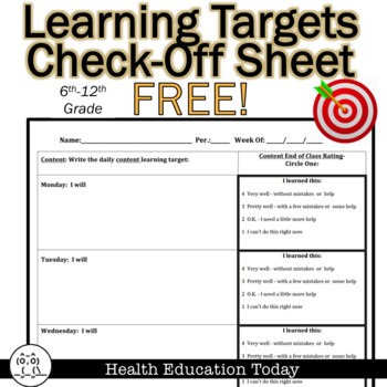 Learning Target / Success Criteria Check Off Sheet - FREE!