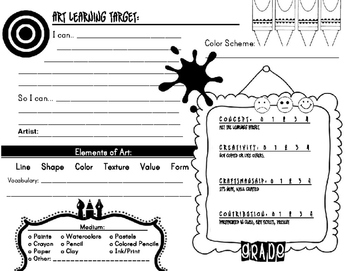 Learning Target and Rubric for Art