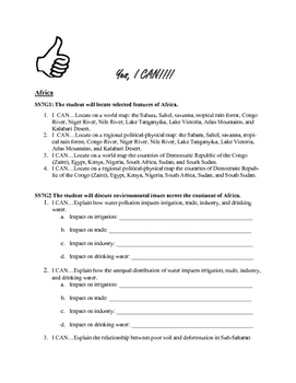 Common Core I Can Statements:Africa Middle East Asia Learn
