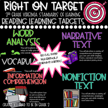"""Learning Targets: 3rd Grade Reading """"I Can"""" Statements (Fu"""