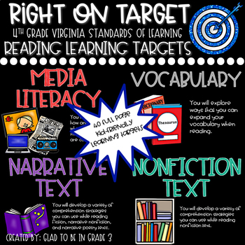 """Learning Targets: 4th Grade Reading """"I Can"""" Statements (Fu"""