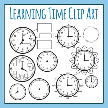 Learning Time Clock Templates Clip Art Set for Commercial