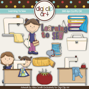 Learning To Sew-  Digi Clip Art/Digital Stamps - CU Clip Art