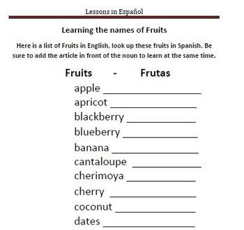 Learning about Fruits in Spanish - Frutas en Español