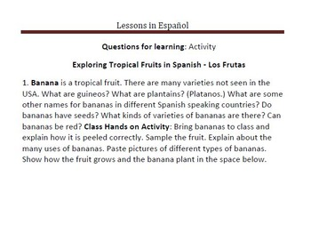 Learning about Tropical Fruits in Spanish