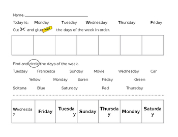 Learning the Days of the Week (Editable)
