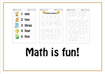 Learning the numbers from 1 to 10 (math packet for pre-k a