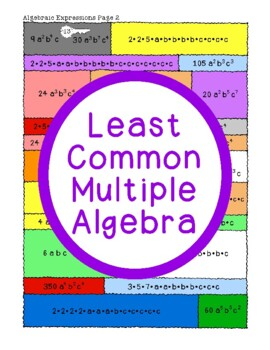 Least Common Multiple Algebra Activity PDF Whole Numbers A