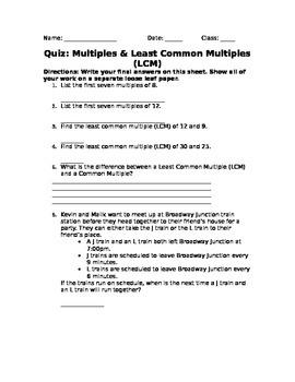 Least Common Multiple Quiz