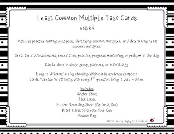 Least Common Multiple Task Cards (LCM)