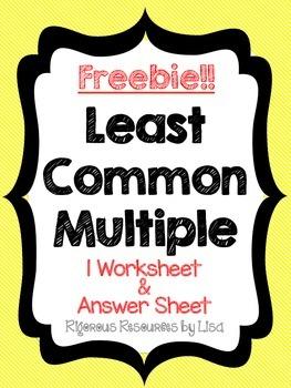 FREE - Least Common Multiple Worksheet