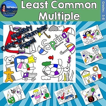 Least Common Multiple Monthly Color by Number Pages