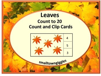 Counting to 20 Leaves Count and Clip Task Cards Interactiv