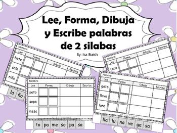 Lee, Forma, Dibuja y Escribe (palabras de dos silabas)