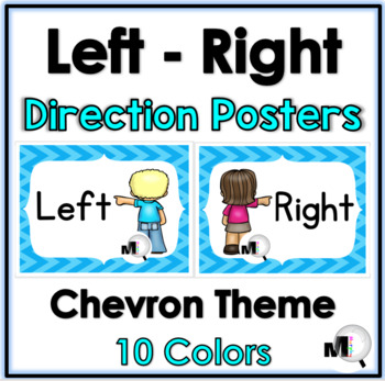 Left - Right Direction Posters - Chevron Theme - Positional Words
