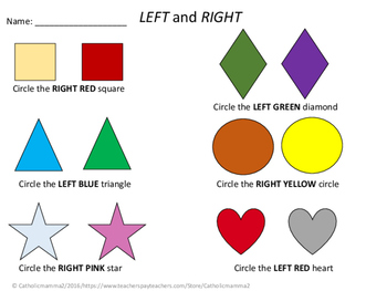 Left and Right Worksheet - No Prep!
