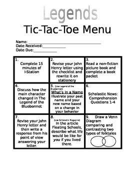 Legend Tic-Tac-Toe Choice Board (Workstations)