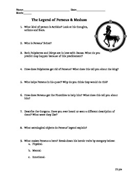 Legend of Perseus Reading Question & Story