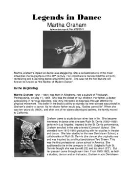 Legends in Dance - Martha Graham NEW