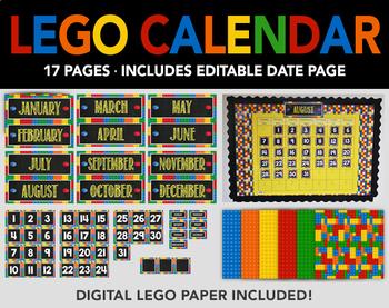 Lego Bulletin Board Calendar and Lego Digital Paper - Prin
