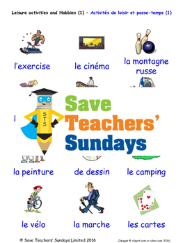 Leisure and Hobbies in French Worksheets, Games, Activitie