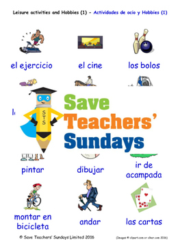 Leisure and Hobbies in Spanish Worksheets, Games, Activiti