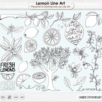 Lemon Fresh Line Art, Summer Fun, Lemon Tree Outline Art I