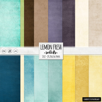 Lemon Fresh Solid Digital Paper, Yellow & Blue Digital Car
