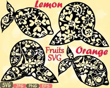Lemon & Orange Citrus Fruits Juice SVG Floral clipart Flow
