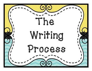 Lemon Yellow and Turquoise Writing Process Clip Chart