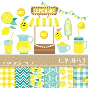 Lemonade Clipart and Digital Paper Set - Instant Download