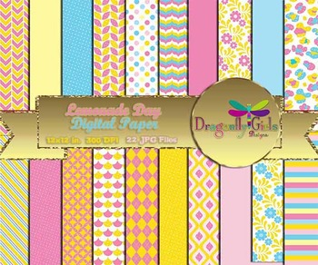 Lemonade Day digital paper, commercial use, scrapbook papers