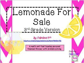 Lemonade For Sale (3rd Grade Version)- New TEKS aligned