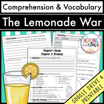 The Lemonade War: Comprehension and Vocabulary by chapter