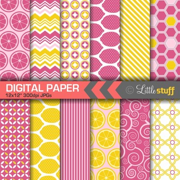 Lemons Digital Paper, Pink and Yellow Lemon Digital Backgrounds