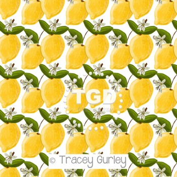 Lemons and Blossoms Pattern on White digital paper Printable