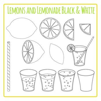Lemons and Lemonade Black and White Clip Art for Commercial Use